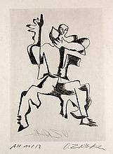 Zadkine, Ossip Guillaume Apollinaire, Sept Calligrammes. Mit 10 handsignierten (davon 2 zusätzlich in der Platte signierten) Radierungen auf Japan Nacré. (Christophe Czwiklitzer, Paris, Basel 1967). Lose Lagen in Schwarz und Weiß in schwarzer