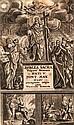 Biblia Sacra vulgatae editionis. Mit Titelseite in Rot- und Schwarzdruck, 1 Holzschnitt-Frontispiz, 1 Holzschnitt TVignette- und Buchschmuck. Wien, Endter, 1718. 9 Bll., 1151 S., 5 Bll. 8°. Prgt. d. Zt. mit reichen Blindprägungen u. Metallschließen.