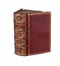 Marot, Clément (Les) Oeuvres. Paris, L'Angelier, 1547. 372, 12, 16, 80 (v.88) Bll (ohne Bl. 57-64). 16°. Roter Maroquin d. 18. Jh. mit mehrf. Filetenverg., reicher RVerg. u. dreis. Goldschnitt (etwas bestossen).