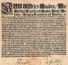 Herzog Anton Ulrich von Braunschweig und Lüneburg Juristisches Edikt ca. 30x27 cm. Mit Siegel u. eigenhändiger Unterschrift des Herzogs und seinem Notariat. Datiert Wolfenbüttel, 31. Januar 1701.