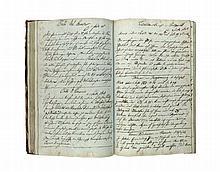 Reise- und Kundenbuch eines Weinverkäufers 1847/49. Fol. Ca. 250 Bll. Hldr. mit montierten Deckelschild (berieben, bestoßen, beschabt und mit Läsuren.(etwas berieben u. bestoßen).