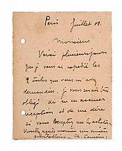 Camoin, Charles Eigenhändige Postkarte mit Unterschrift an den Kunsthändler Goldschmidt in Frankfurt. Paris Juli 1908