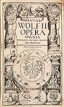 Wolf, Johannes Lectiones Memorabiles et reconditae... (Kupfertitel: Opera Omnia Theologico Historico Politica). Tl. 1 (von 2). Mit gest. Titel, Titelvign. u. zahlr. Abb. auf 7 (v. 8) dplblgr. Kupfertafeln. Frankfurt, Gross, 1671 (Druckvermek auf l.