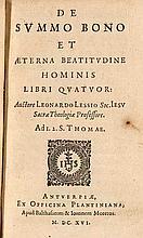 Bellarmino, Roberto De aeterna felicitate sanctorum libri quinque. Mit 1 Titelvign. Antwerpen, Moretus und Plantin, 1616. 304 S., 16 Bll. Schweinsleder auf Holzdeckeln (fleckig, teils stärker beschabt, Schließenfragmente).