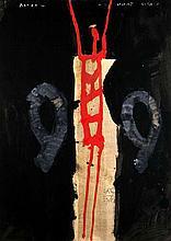 Mackensen, Gerd Roter streckt sich. 1989. Farbtusche auf Papier. Blattgröße 82,8 x 59,7 cm. Signiert und bezeichnet.