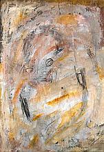 Mackensen, Gerd Einer im Strudel. (1989). Mischtechnik auf genarbtem Papier. Blattgröße 83,5 x 58,5 cm. Signiert, betitelt und bezeichnet. - Rückseitig kleine Hinterlegung an der Außenkante.