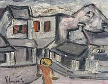 Bùi, Xuân Phái (d.i. Bùi Xuân Phái) Straße in Hanoi. Öl auf Karton. 18 x 22,5 cm. Signiert