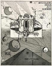 Bremer, Uwe Künstliche Berge auf Alkor 82/ Das Nachtmahl im Grünen/ Galaxis. 1969-1981. 2 Farbradierungen u. 1 Radierung auf verschiedenen Papieren. Von 25 x 20 cm (54 x 37 cm) bis 40 x 40 cm (76,5 x 54 cm). Je signiert, datiert u. nummeriert. - 1