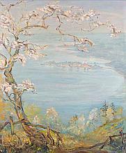 Brüning, Max Blick auf Lindau am Bodensee im Frühling. Mitte 20. Jhd. Öl auf Platte. 61 x 51 cm. Signiert. - Gerahmt.