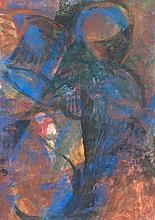 Brosch, Hans o.T. (Abstrakte Figuration). 1980. Aquarell auf feinem Papier. 21 x 15 cm. Verso signiert und datiert. - Im Passepartout freigestellt. Verso teils mit Atelierspuren.