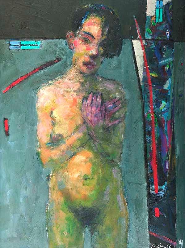 Griesel, Bruno Pubertät. 1990. Öl auf Hartfaserplatte. 115 x 86 cm. Signiert und datiert. - Gerahmt.