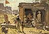 Friedrich, Woldemar Indische Landschaft in Radjasthan mit Sadhu in seinem Haus. Spätes 19. Jh. Öl auf Platte. 39,5 x 54,5 cm. Signiert (etwas berieben). Verso mit Entwurf eines Ehrenmals mit zwei Allegorien in Öl, dieser signiert. - Gerahmt., Woldemar Friedrich, Click for value