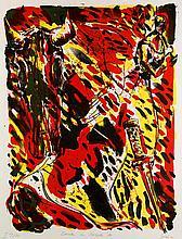 Giebe, Hubertus Dresden im Oktober '89. 1990. Farblithographie auf Büttenpapier. Blattgröße ca. 66 x 50 cm. Signiert, nummeriert und betitelt.