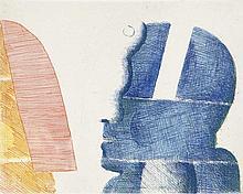 Antes, Horst 2 Köpfe. 1972. Farbradierung auf Velin. 18,5 x 24,5 cm (55 x 39cm). Signiert u. nummeriert.