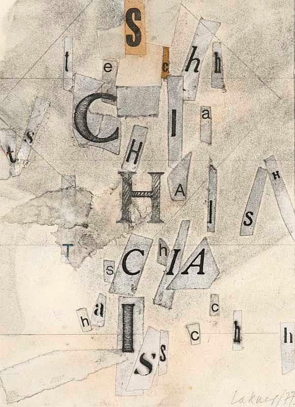 Lakner, Laszlo SCHIA. 1977. Bleistift und Collage auf Karton, vollständig auf Unterlagekarton aufgezogen. 12,2 x 8,8 cm. Signiert und datiert. - Im Passepartout freigestellt und unter Glas gerahmt.