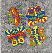 Akrithakis, Alexis Schmetterlinge. 1969. Farbserigraphie auf festem Karton. 59 x 58 cm (63,5 x 61 cm). Signiert, datiert u. nummeriert sowie in der Form signiert u. datiert. - Der volle weiße Rand minimal angeschmutzt, die oberen Ecken minimal