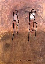 Mackensen, Gerd Im Gehen begriffen. (1989). Mischtechnik auf Papier. Blattgröße 83,7 x 60 cm. Signiert und betitelt.