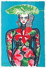 Bach, Elvira Frau mit Hibiskus. 1998. Farbige Terragraphie auf festem leicht genarbtem Papier. 106 x 73 cm. Signiert, datiert und nummeriert. - Unter Passepartout und unter Glas im hochwertigen Rahmen.