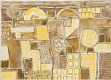 Bargheer, Eduard Forio. 1973. Aquatintaradierung in Gelb und Braun auf Japan. 31 x 43 cm (52 x 67 cm). Signiert, datiert