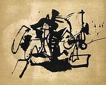Basaldella, Afro o.T. (abstrakte Komposition). 1964. Lithographie in Schwarz und Braun auf BFK Rives. 40,4 x 48,5 cm (50 x 60 cm). Signiert u. nummeriert sowie mit dem Prägestempel der Erker-Presse St. Gallen und verso mit dem Stempel des