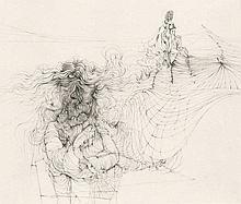 Bellmer, Hans 3 Kupferstiche auf Japan. 12 x 8,3 cm bis 19 x 22 cm (30 x 23,5 cm bis 23,5 x 30,5 cm). Je signiert und nummeriert. Je unter Passepartout. In violetter Leinenmappe und schwarzer Leinenkassette innenliegend. Mappe und Kassette je mit