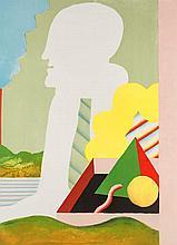 Antes, Horst Figur mit Landschaft. 1968. Farblithographie auf BFK Rives. 56,5 x 41 cm (74,5 x 55 cm). Signiert und nummeriert sowie mit dem Eindruck des Kunstvereins Braunschweig versehen.