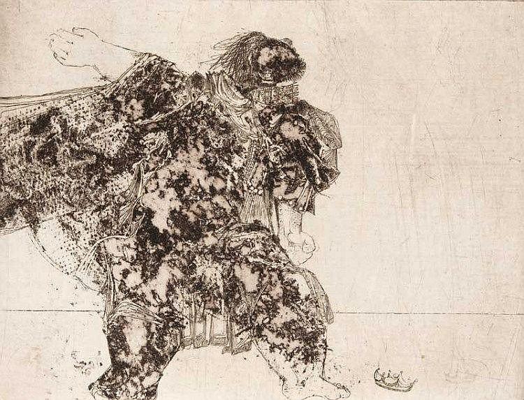 Rumpf, Gernot Tod der Salome/ Tanz für mich, Salome!/Man töte dieses Weib. 1968. 3 Aquatintaradierungen in Braun, Rotbraun u. Graublau auf Bütten. Je 39,7 x 39 cm (53,6 x 75,5 cm). Je signiert, datiert, betitelt und bezeichnet mit