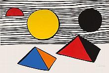 Calder, Alexander o.T. (Komposition mit Pyramiden). Farblithographie auf leicht genarbtem festem Papier. 74 x 109 cm. Signiert und nummeriert. - Im hochwertigen Conzen-Rahmen mit lasierten Spiegelleisten unter Glas gerahmt (Maße mit Rahmen: 94 x 129