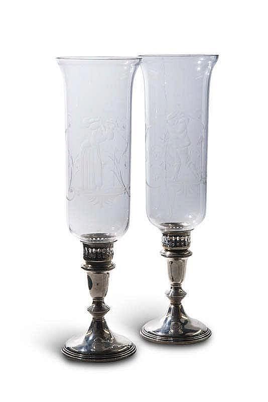 zwei sterling kerzenst nder mit glaseins tzen schmale hohe. Black Bedroom Furniture Sets. Home Design Ideas