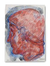 Giebe, Hubertus Kopf eines Unbekannten (röm.) 380 n. Chr. 2014. Aquarell und Farbstift auf kariertem