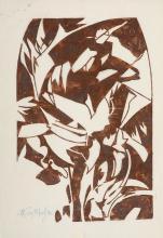 Melzer, Moriz o.T. Um 1920. Linolschnitt in Rotbraun auf feinem Japan. 35 x 23,5 cm (42 x 29 cm). Si