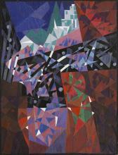 Melzer, Moriz o.T. (Stadt-Brücke). (Um 1922). Farbmonotypie mit partieller Übermalung in Tempera auf