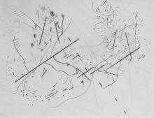 Buchheister, Carl o.T. 1961/1962. Radierung auf BFK Rives-Bütten. 11 x 14,8 cm (26 x 19 cm). Signier