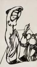 Melzer, Moriz o.T.(Frauenstudie). Tusche auf Papier vollständig auf Karton aufgezogen. 38 x 25 cm. R