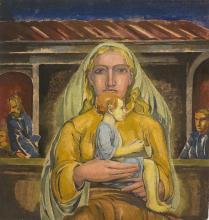 Melzer, Moriz Mutter mit Kind. (Späte 1920er Jahre). Farbmonotypie auf Japan. 43,5 x 40,5 cm. - Part