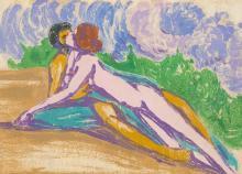 Melzer, Moriz o.T. (Liegendes Paar). Um 1909. Farbmonotypie auf Japan voll aufgezogen auf Pappe. 31