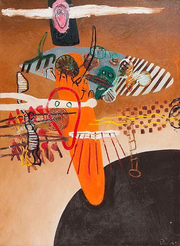 Carle, Pontus Abstrakte Komposition. 1993. Öl auf Leinwand. 130 x 97 cm. Si