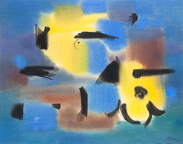Breuer, Florian Abstrakte Komposition. 1962. Tusche und Pastell (teils lavi