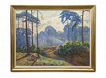 Perfall, Erich Freiherr von Sonnendurchflutete Waldlichtung mit Kiefern. Öl