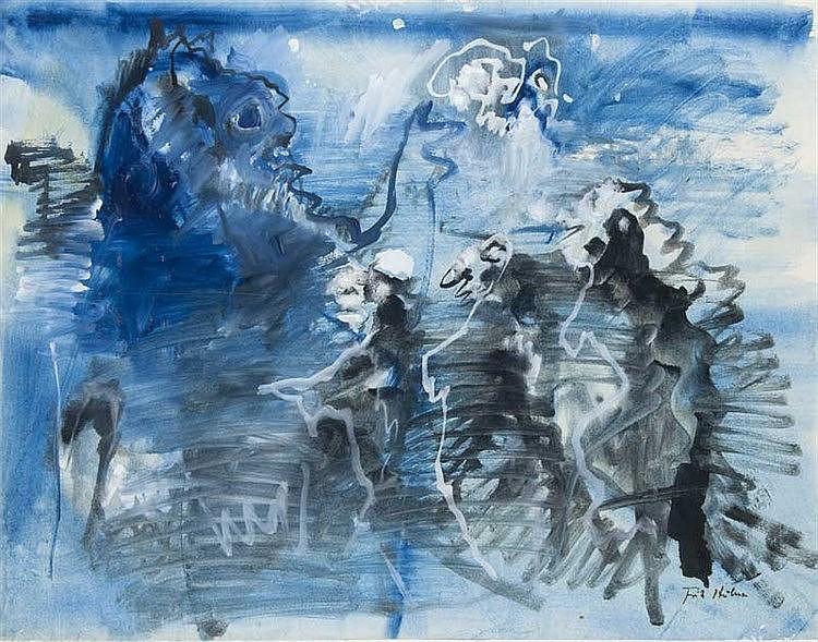 Huhnen, Fritz Bühnenbild. Gouache auf feinem Papier. 48 x 61,5 cm. Signiert