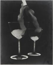 Set of 2 Photograms (Wineglasses and Flowers)