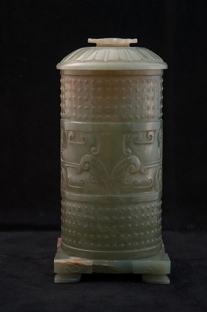 A CHINESE CARVED CELADON JADE INCENSE HOLDER WITH LID
