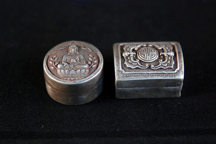A SET OF TWO CHINESE SILVER BOX WITH RED INK