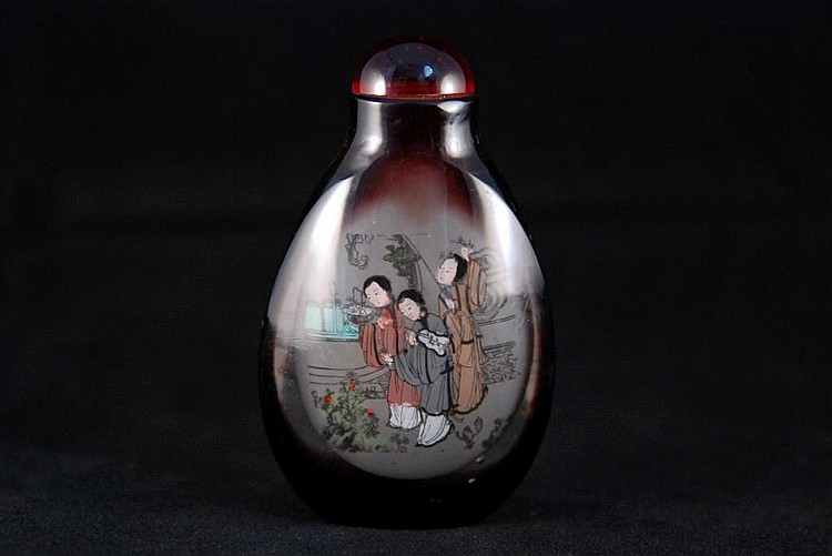 INSIDE-PAINTED GLASS SNUFF BOTTLE