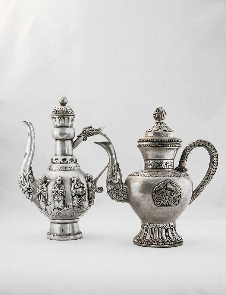 TWO CHINESE SILVER EWER WITH COVER