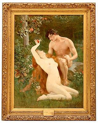 VLAHO BUKOVAC (CROATIAN) Adam and Eve c. 1885 Oil