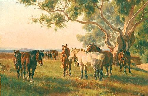 JAN HENDRIK SCHELTEMA 1861-1941 Horses Oil on