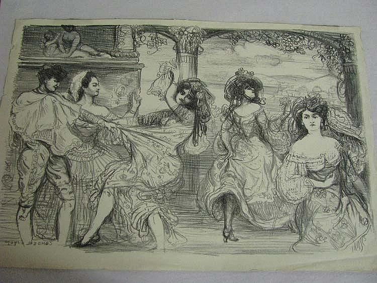 Charles Condor lithograph 'Spanish Dancers' signed