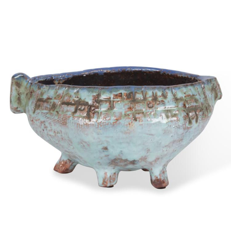 Pale Blue Glazed Ceramic Bowl by Juliette Derel