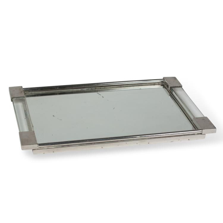 Nickel Frame Mirrored Serving Tray, French 1930s